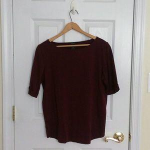 Ann Taylor Deep Red Basic 3/4 Length Sleeve Top L